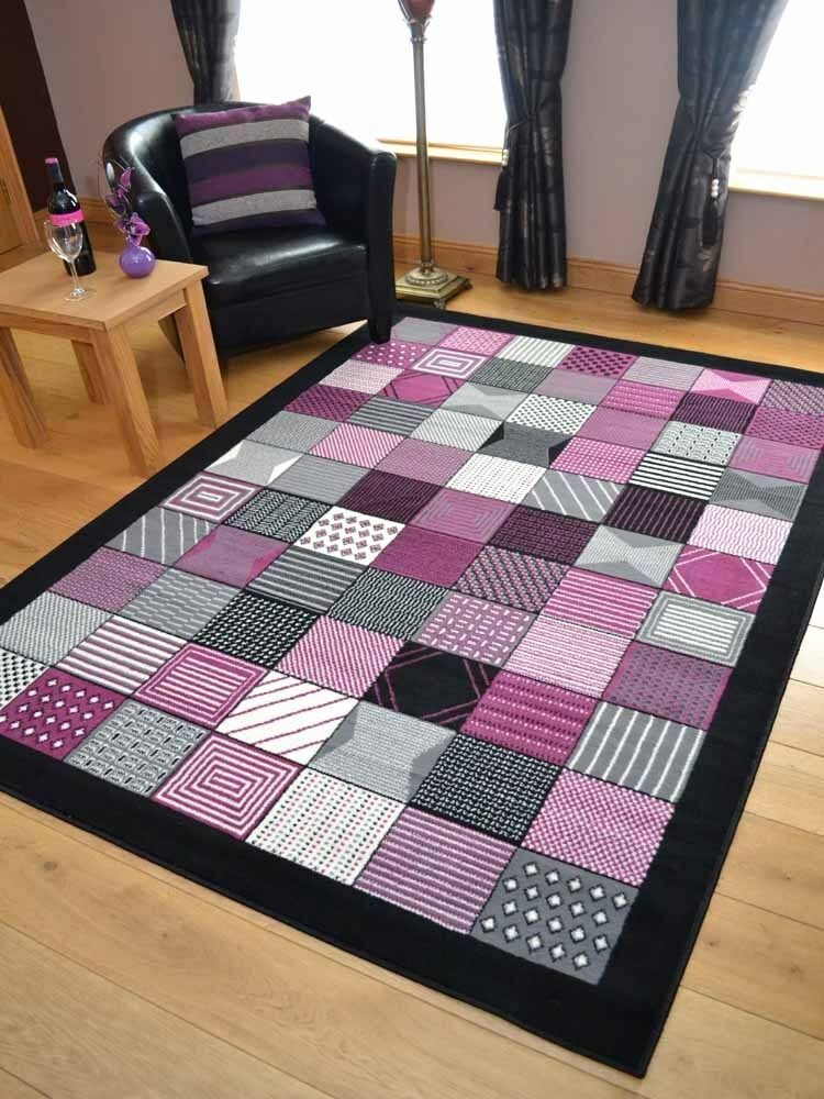 Black grey and plum purple pink hall runners small large for Runners carpets and rugs