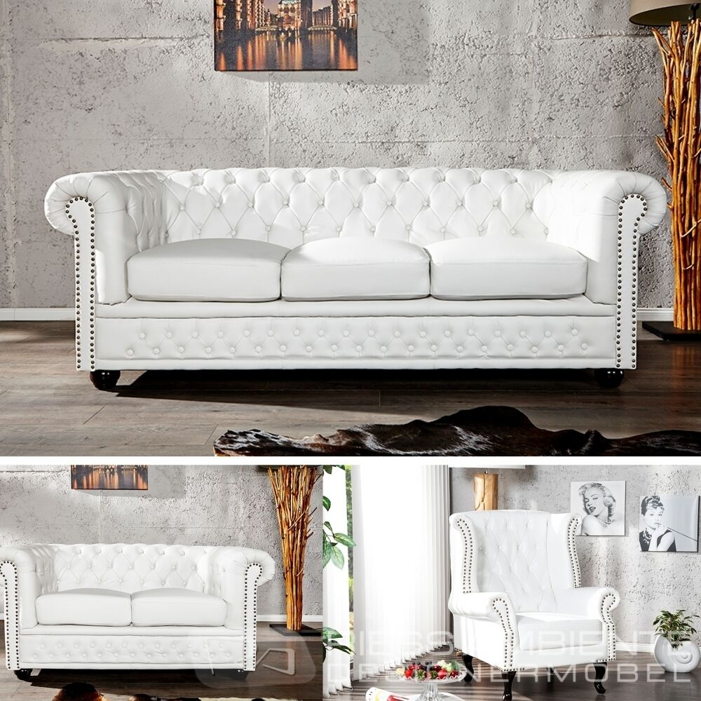 chesterfield sofa oder sessel weiss nieten couch polstersofa sofa ebay. Black Bedroom Furniture Sets. Home Design Ideas