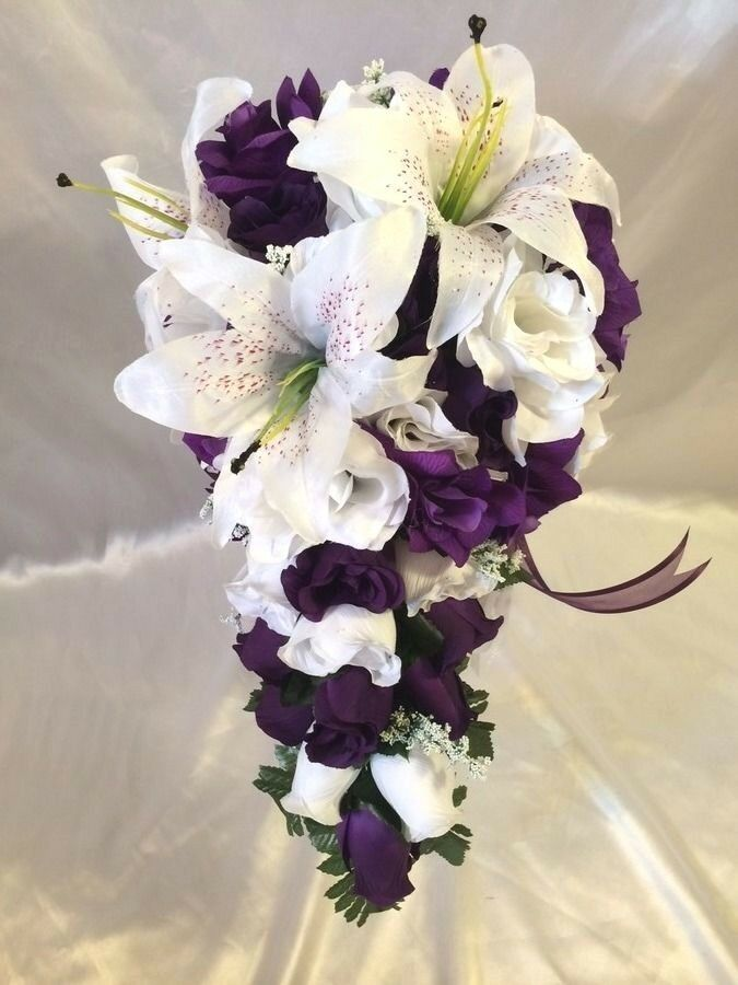 Wedding Bouquet Packages Silk : Purple wedding bridal bouquet silk flower package