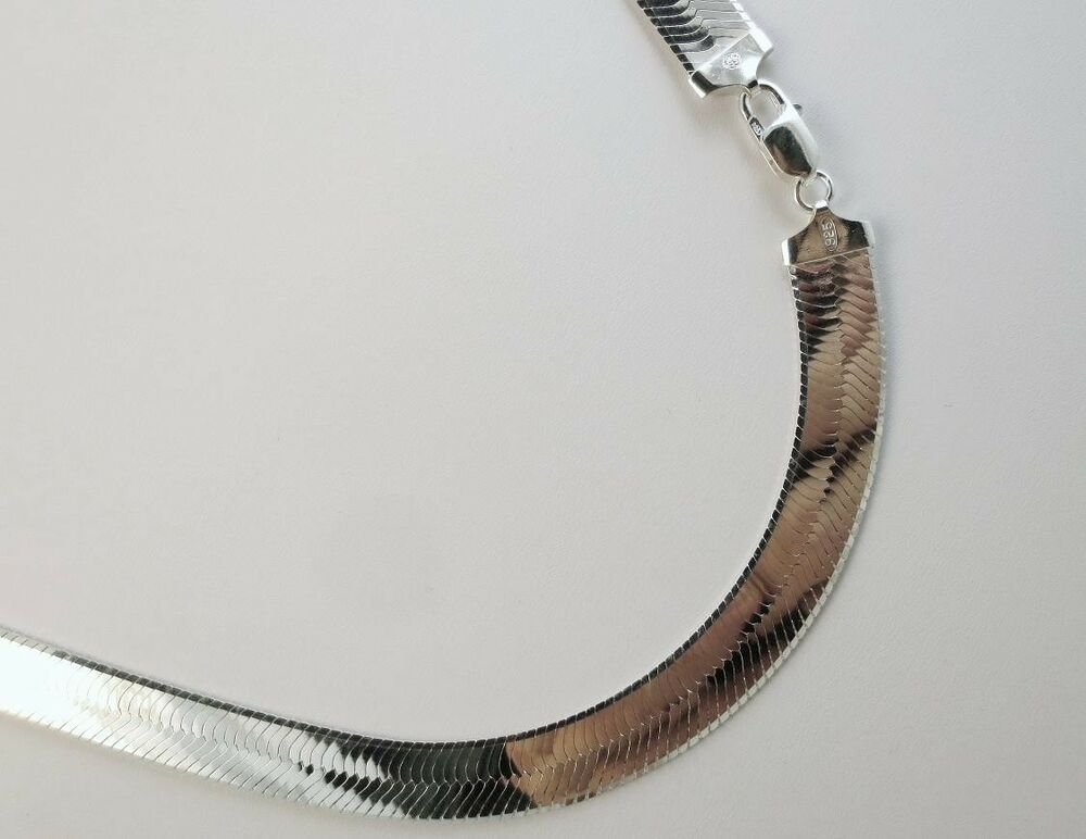 11mm herringbone necklace 925 sterling silver italian