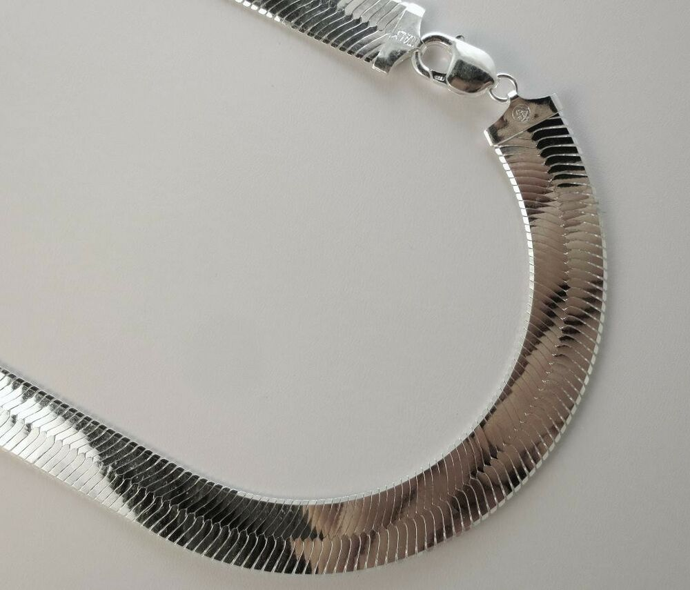 14mm herringbone necklace sterling silver 925 italian