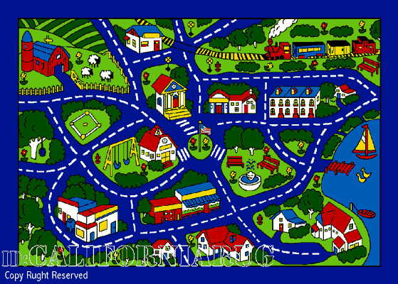 7x10 Area Rug Play Road Driving Time Street Car Kids City