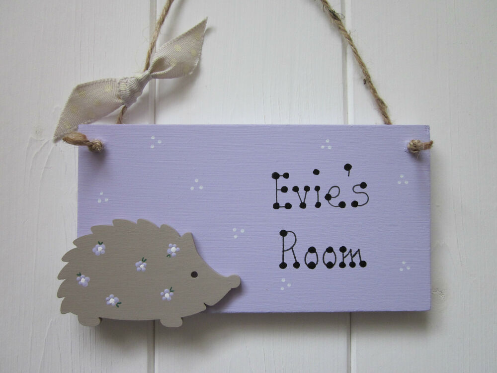 Hedgehog personalised name girls boys baby bedroom nursery for Door name signs
