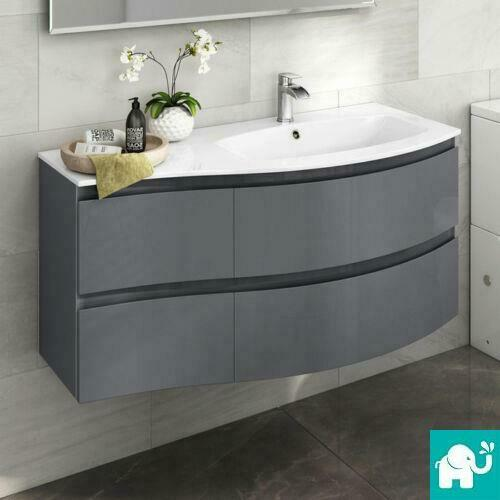 curved bathroom wall cabinet 1040mm wall hung curved vanity unit with resin sink 18010