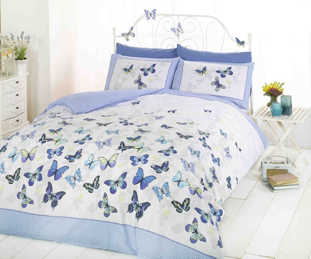 Superb Trendy Funky Cotton Butterfly Blue Double Duvet Set