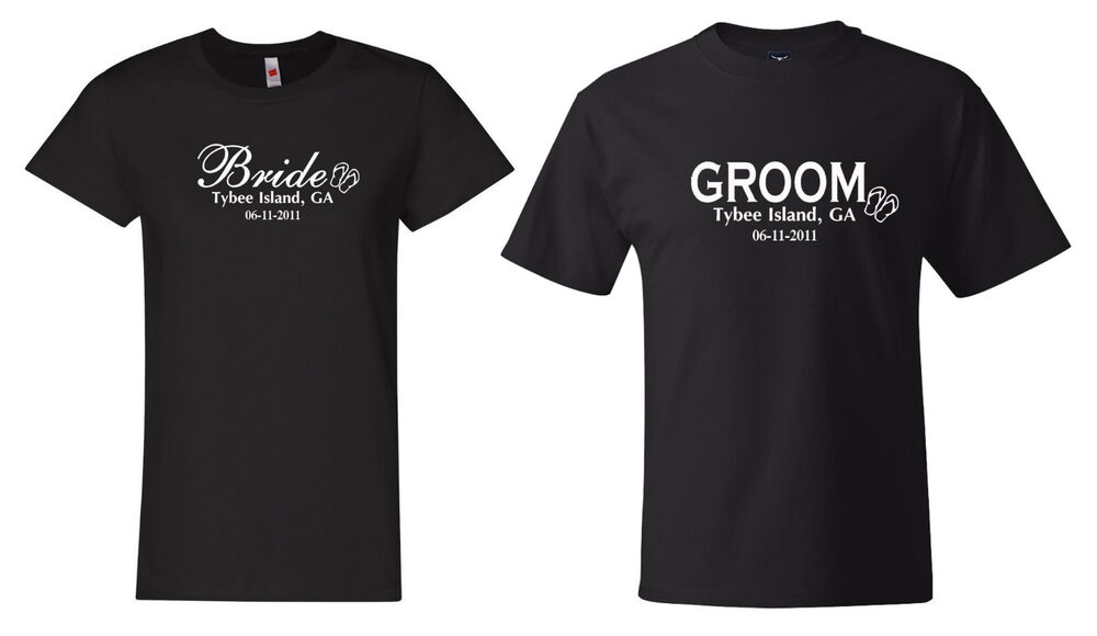 Bride And Groom Custom Wedding Date And Place T Shirts