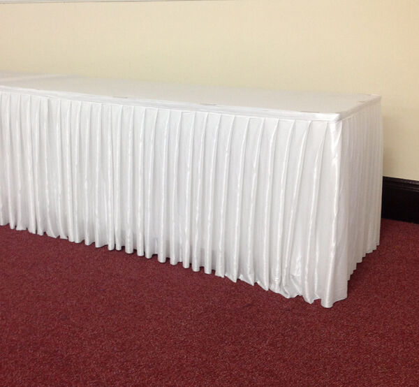 24ft Top Table Skirt Quality Fabric White Table Skirt Ebay
