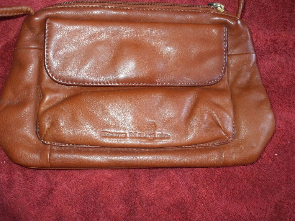 STONE MOUNTAIN RUST LEATHER SHOULDER BAG W OUTSIDE SNAP ...