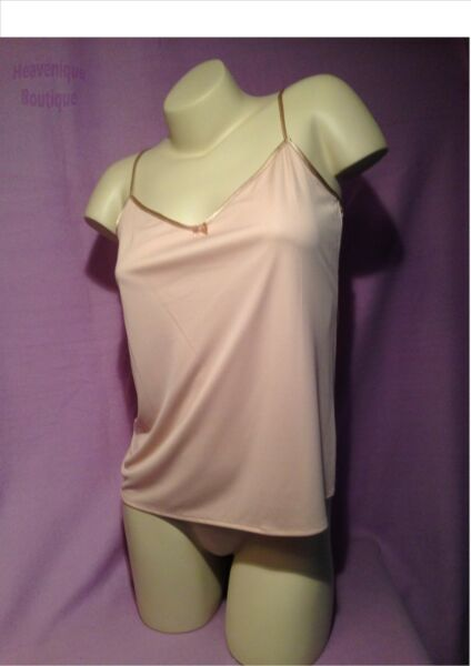 Ex Store NATURAL SLINKY CAMISOLE TOP with adjustable strap & bow detail 8 - 22