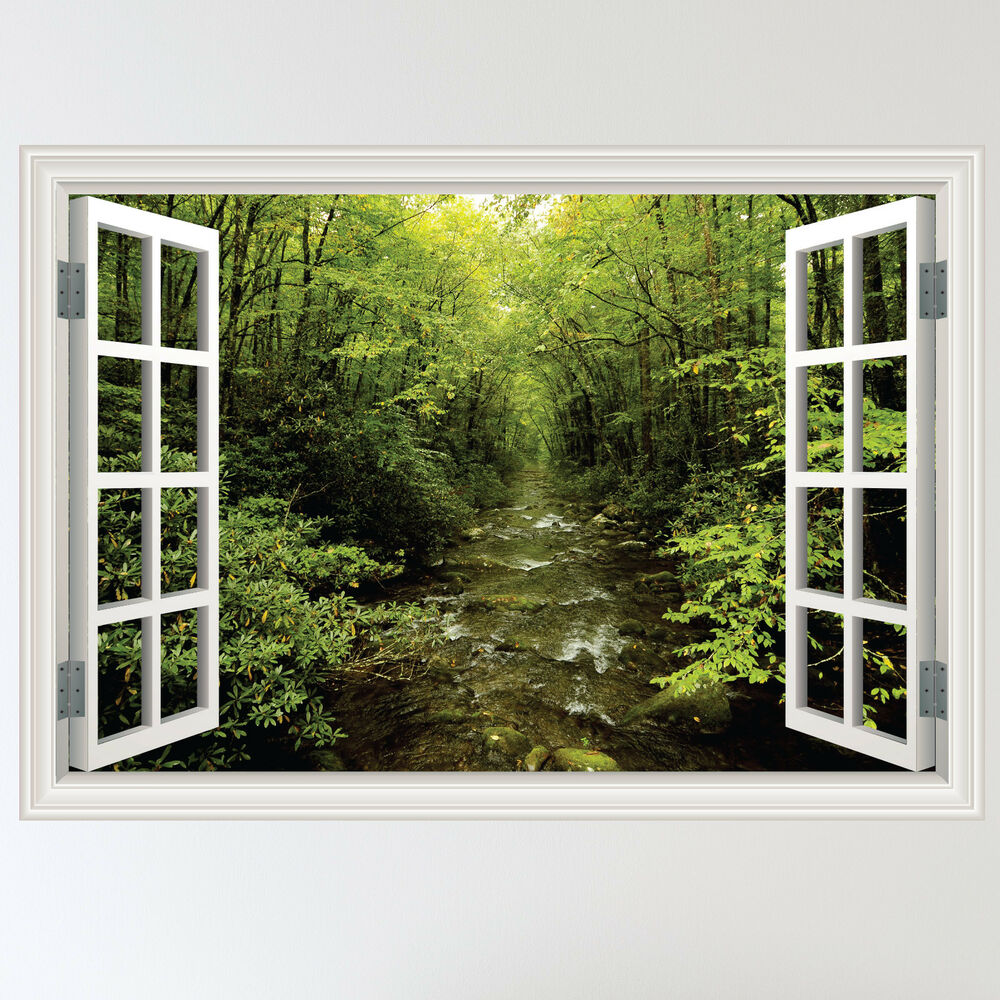 Full colour forest woodland river window scene wall for Door mural stickers