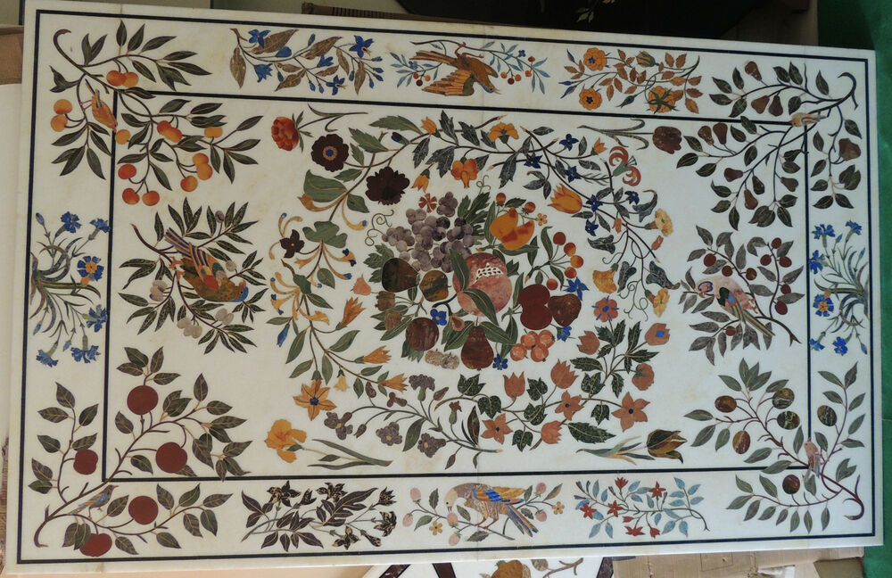 Extra Large Pietra Dura Marble Inlay Dining Table Hall