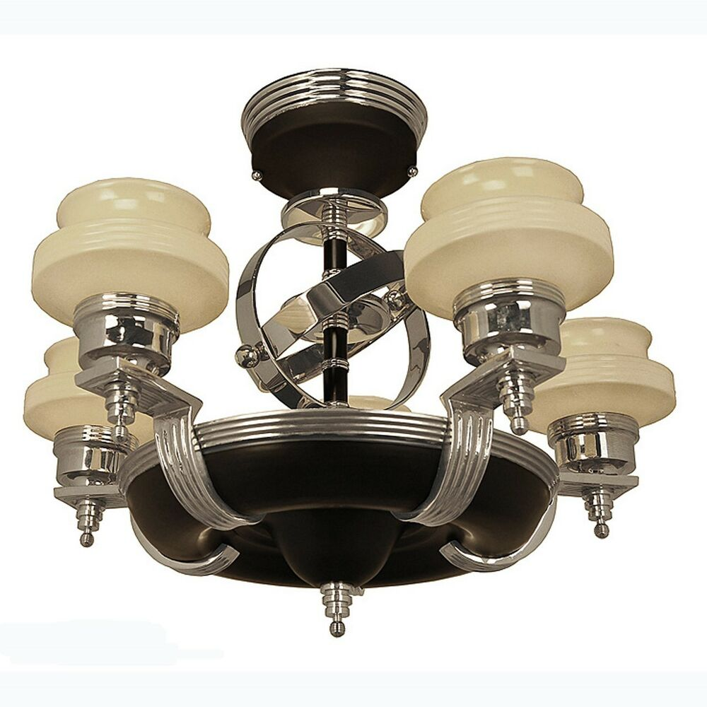 Art Deco Streamline Modern Chandeliers Black Nickel 5 Light 1930s 677