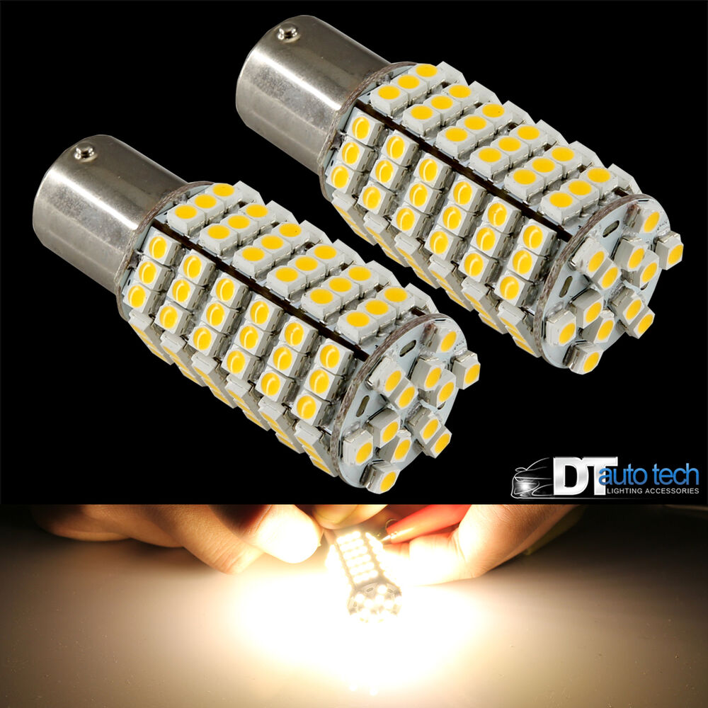 4x 1156 Ba15s Rv Trailer 12v Led Lights Bulbs 120 Smd Warm