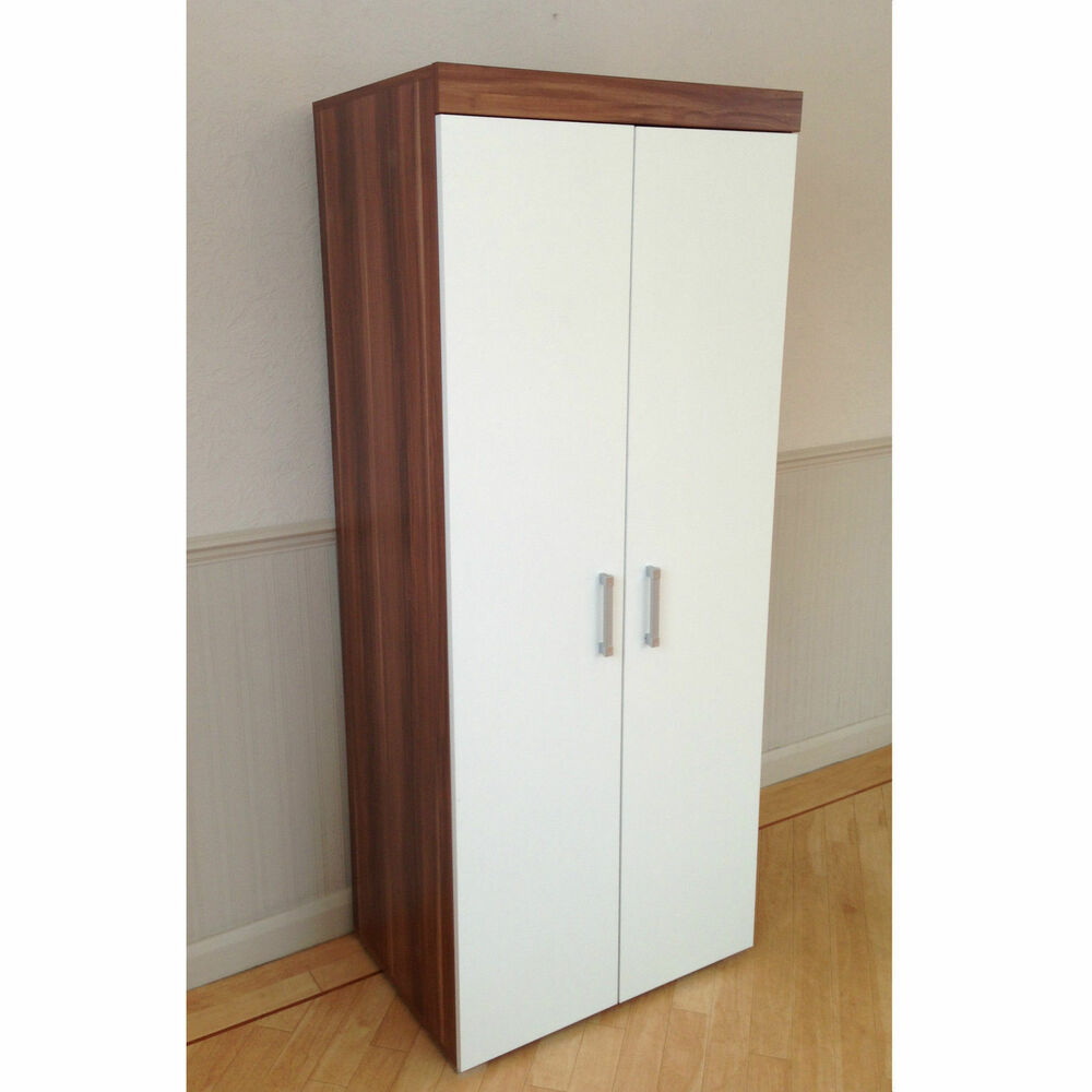 2 Door Double Wardrobe In White Walnut Bedroom Furniture New Set Available Ebay