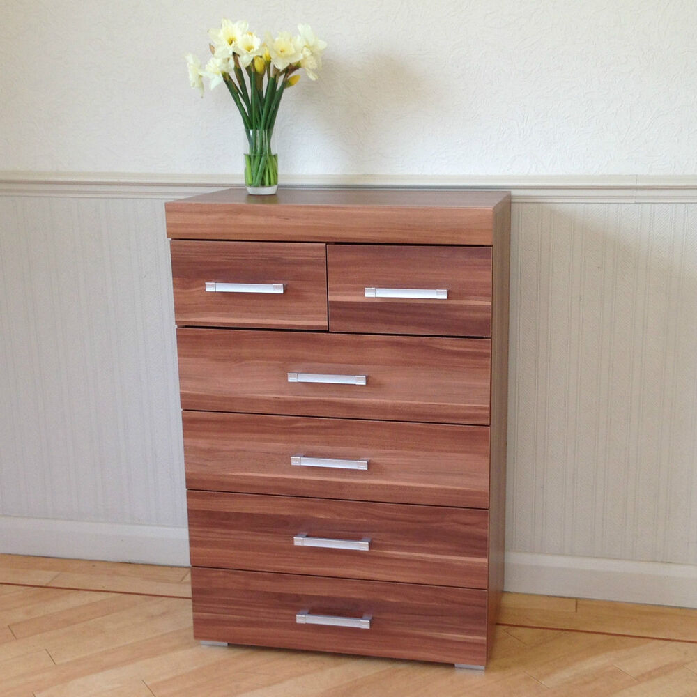 Chest of 4 2 drawers in walnut effect bedroom furniture - Bedroom sets with drawers under bed ...
