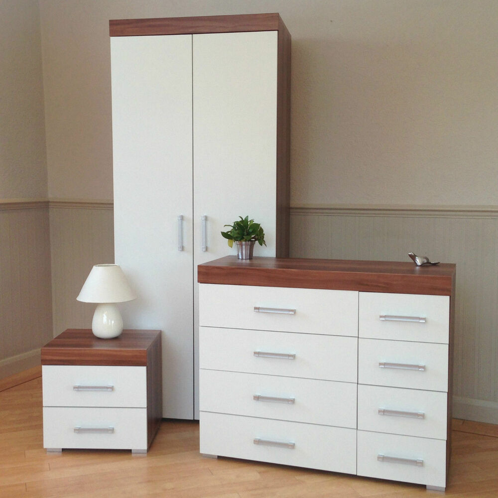 Bedroom Furniture Set White Walnut Wardrobe 4 4 Drawer Chest Bedside Cabinet Ebay