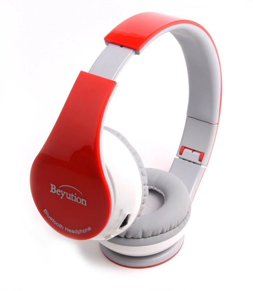 red bluetooth 4 0 headphones headset for all cell phones tablet pc with micphone ebay. Black Bedroom Furniture Sets. Home Design Ideas