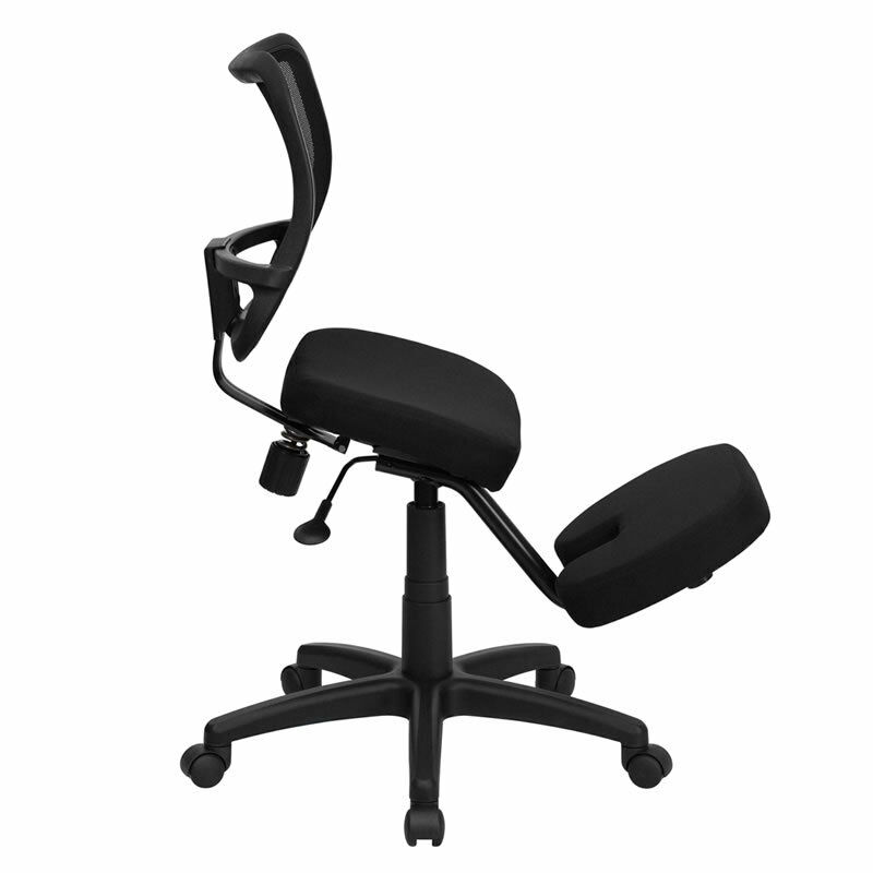 Ergonomic Curved Mesh Back Black Fabric Seat Mobile Office