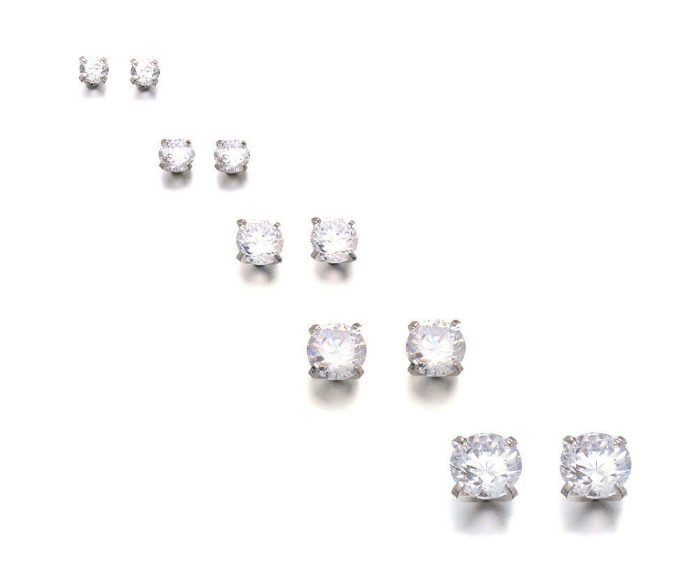 Round Stud Earrings Cz Crystal Titanium Post Unisex 4mm12mm