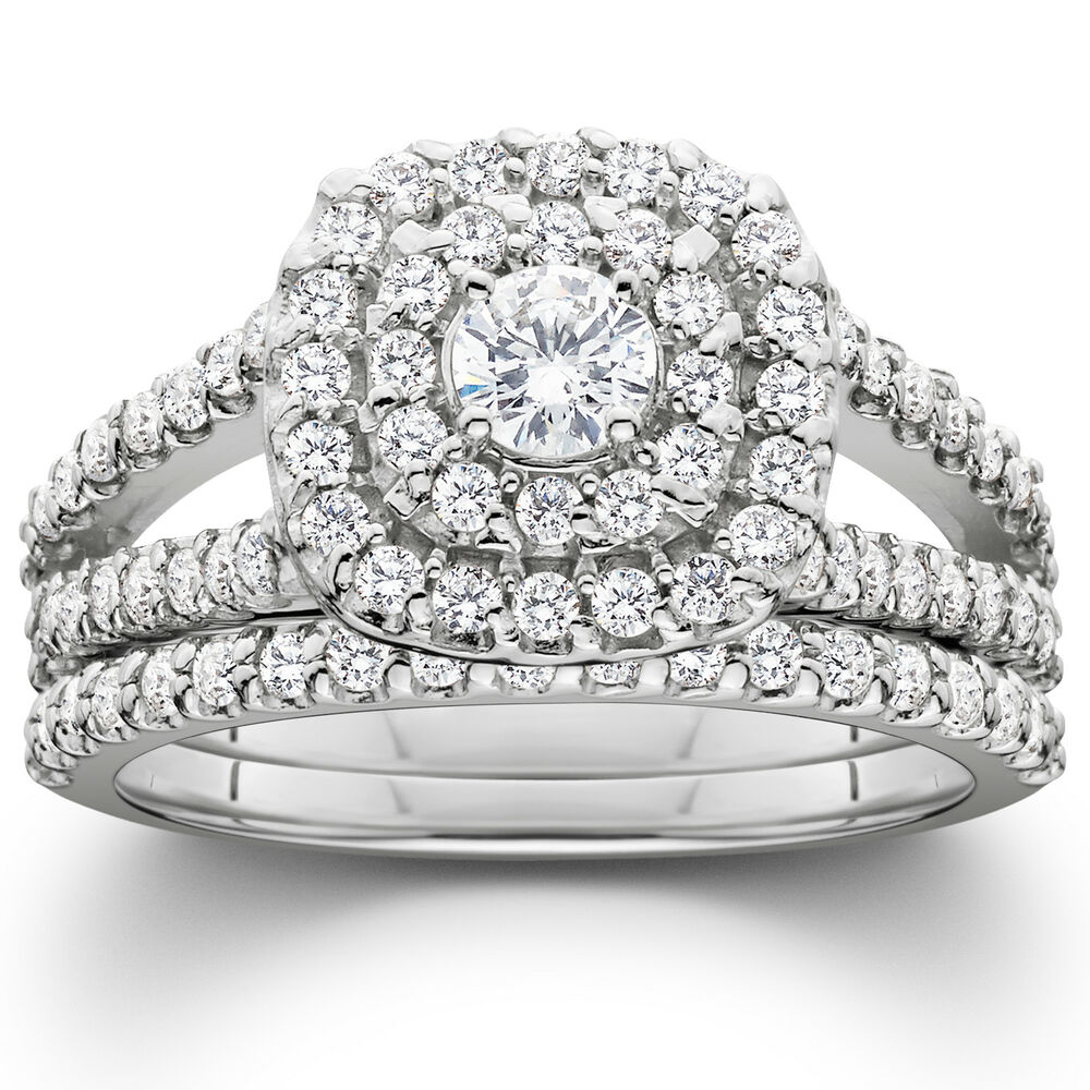 White Gold Wedding Sets: 1 1/10ct Cushion Halo Diamond Engagement Wedding Ring Set