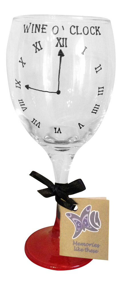 Hand painted wine o 39 clock wine glass fantastic funny christmas gift 2015 ebay - Funny wine glasses uk ...