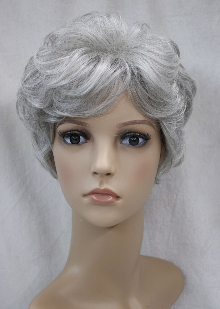 Light gray Mixed Short Curly Middle-aged / Older Women Ladies Daily ...