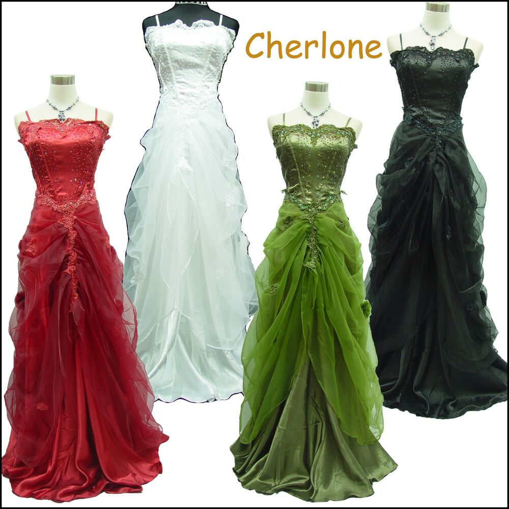 Evening Wedding Gown: Cherlone Satin Ball Gown Lace Long Wedding/Evening Prom