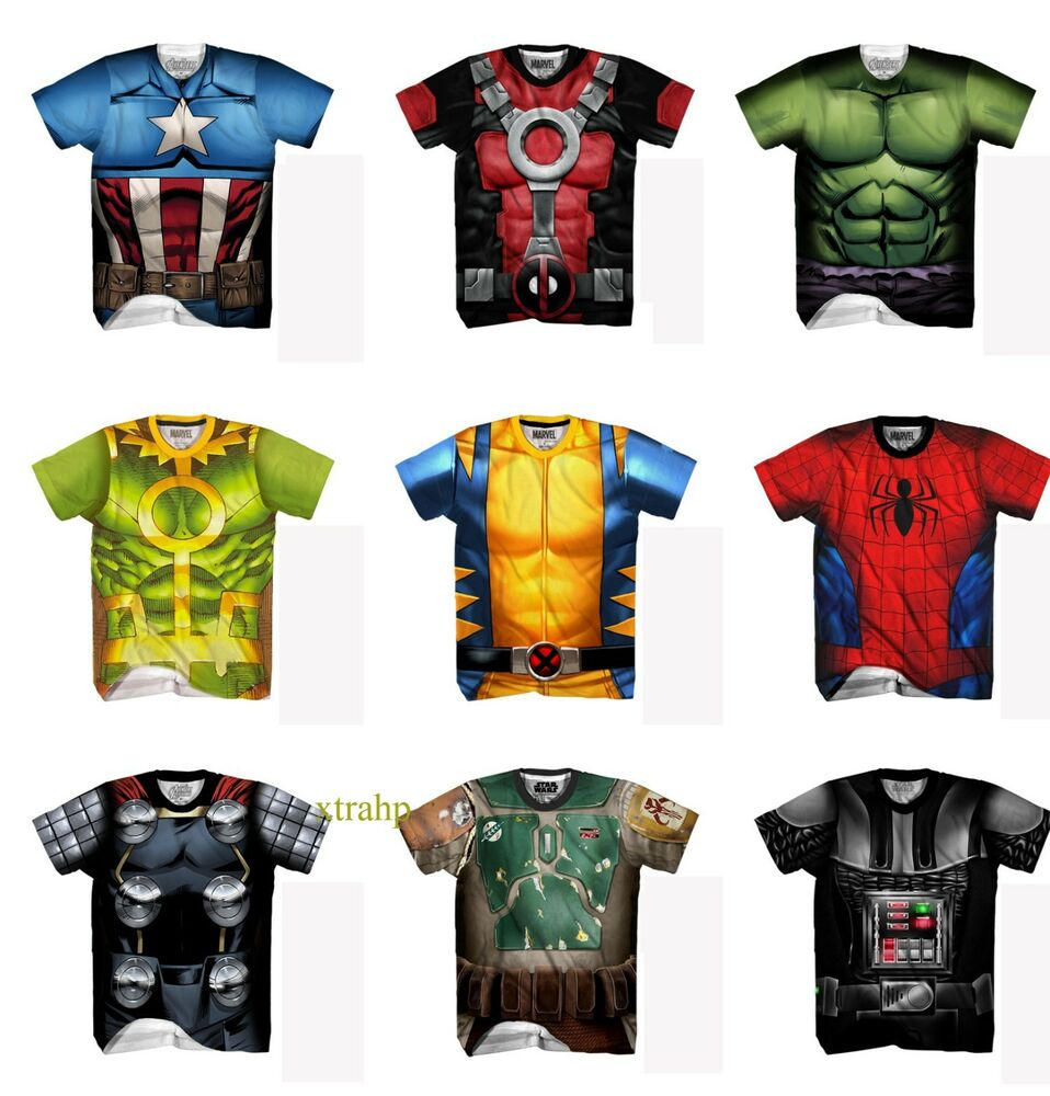 Authentic Marvel Comic Or Star Wars Adult Sublimated T ...