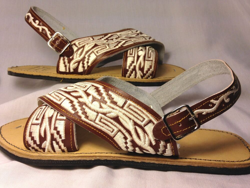 Mens Leather Mexican Two Strap Piteado Grabado Sandals