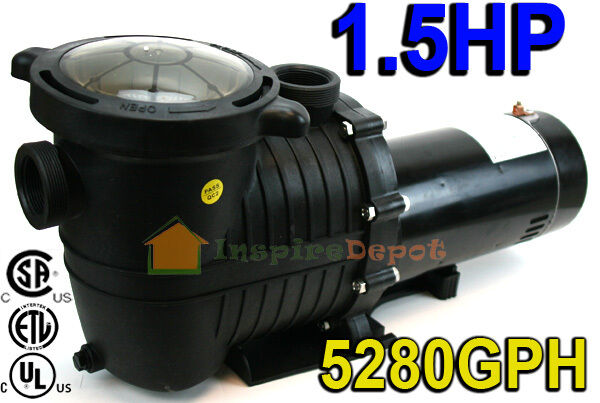 1 5 Hp 5280gph In Ground Swimming Pool Pump W Strainer Ul