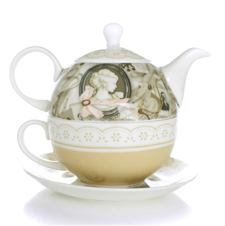 tea for one teapot set with cup saucer vintage lady new bone china porcelain ebay. Black Bedroom Furniture Sets. Home Design Ideas