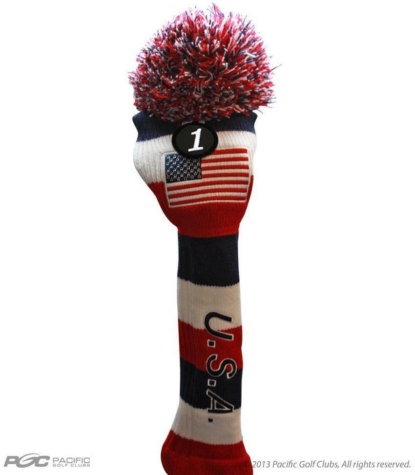Lady Golf Driver Headcover Usa Red White Blue Ladies Knit