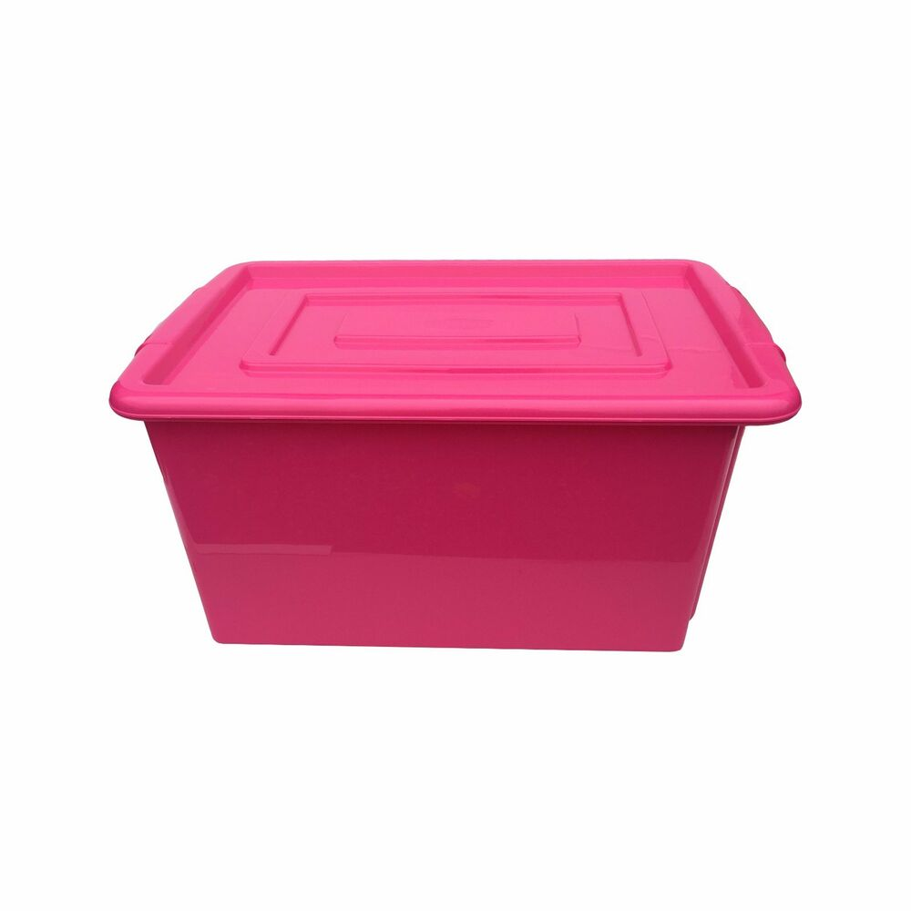 pink plastic large 52l litre storage box tub container with lid toy box kids ebay. Black Bedroom Furniture Sets. Home Design Ideas