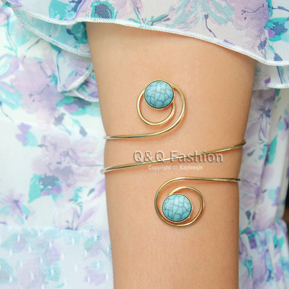 Arm Cuff Jewelry: Gold Double Turquoise Stone Swirl Arm Cuff Armlet Armband