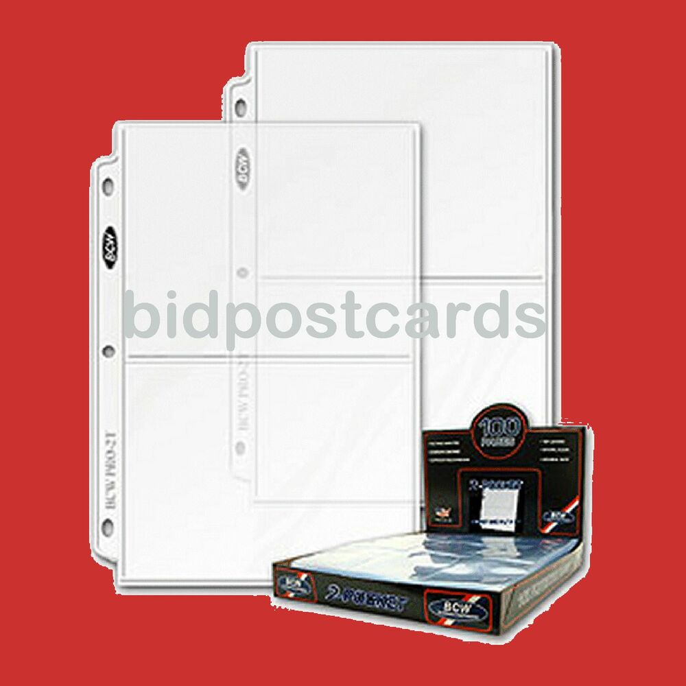 100 BCW 2-Pocket Archival Display Pages Sheets For 5x7