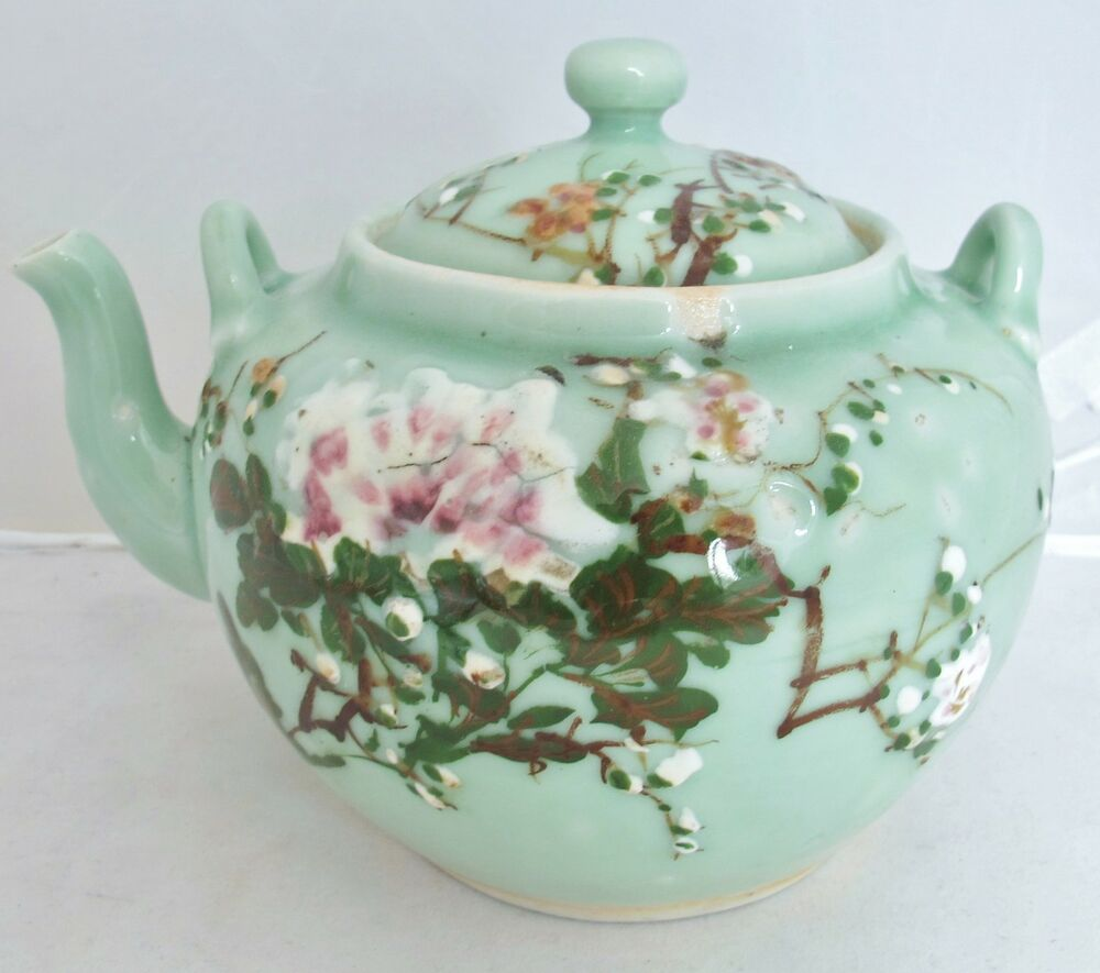 "Big 8.2"" Antique Japanese Seto Celadon Green Glazed Teapot ..."
