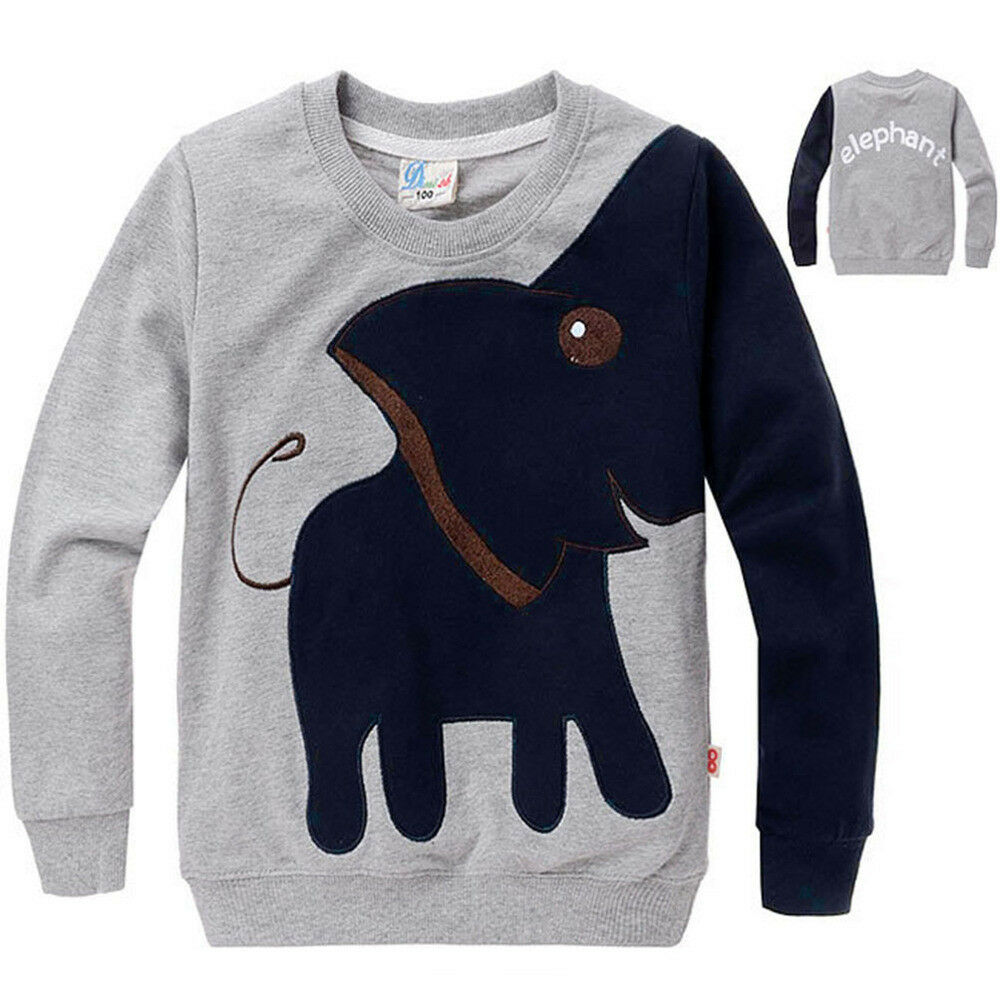 Kids boys long sleeve tops funny animal elephant sweater for Long sweaters and shirts