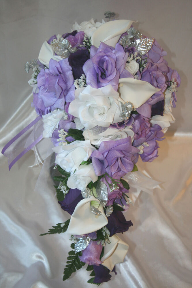 bridal bouquet package lavender silver calla lily silk flower wedding 21pc ebay. Black Bedroom Furniture Sets. Home Design Ideas