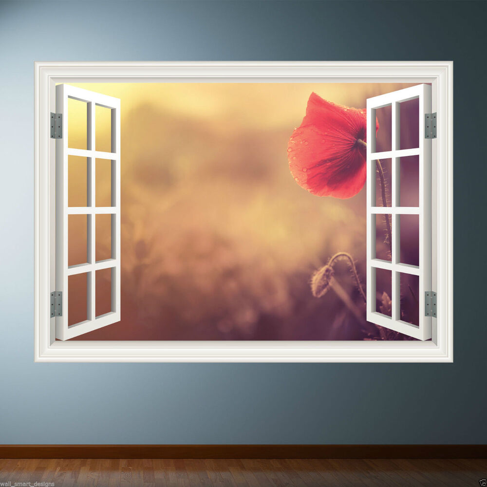 flower window frame full colour wall art sticker decal. Black Bedroom Furniture Sets. Home Design Ideas