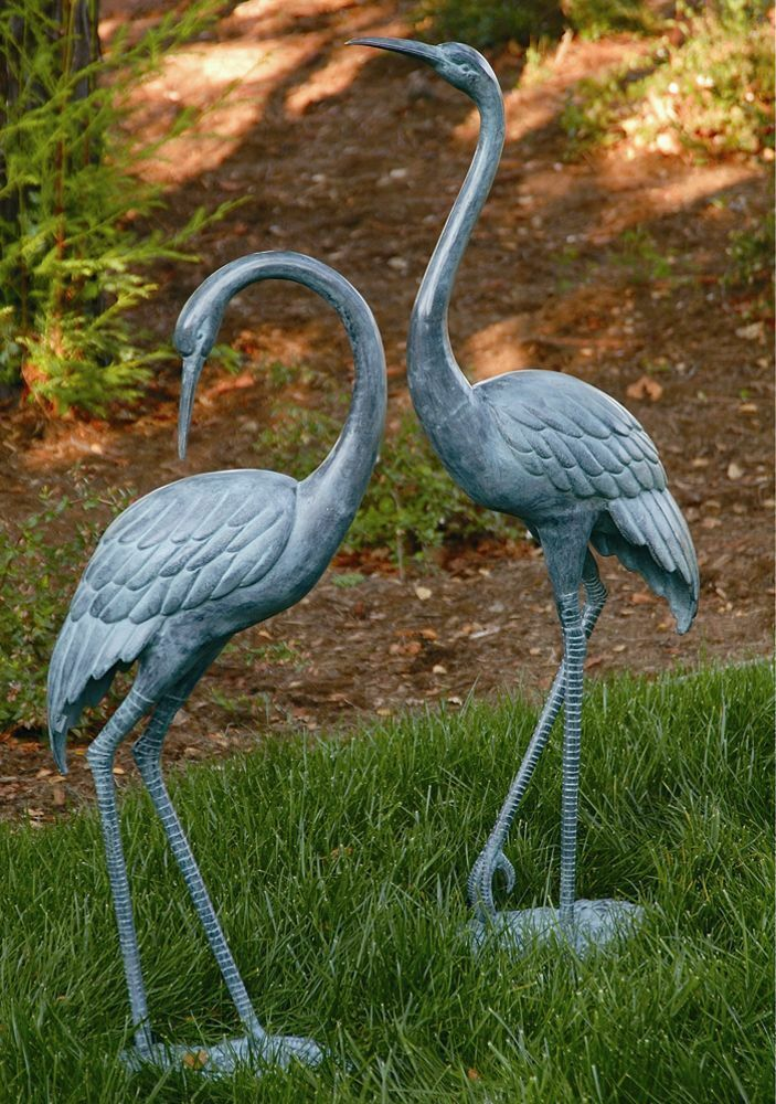 Brass Medium Crane Pair Garden Statue Coastal Heron Bird Sculpture