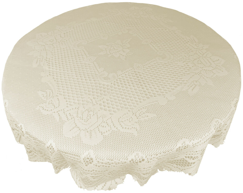 Cream Heavy Lace Rose Scalloped Stain Release 60 Quot 150cm