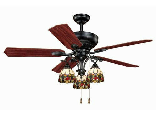 52 Tiffany Style 3 Light Ceiling Fan New Glass Globe