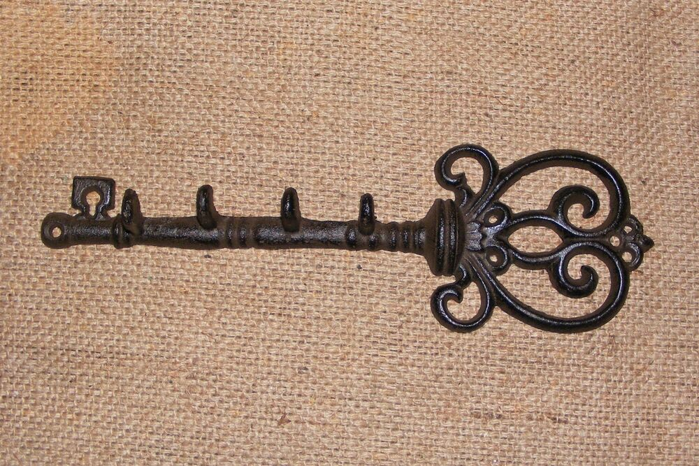 Wall Decor With Key Hooks : Cast iron wall key holder hat hook hanger rack decor
