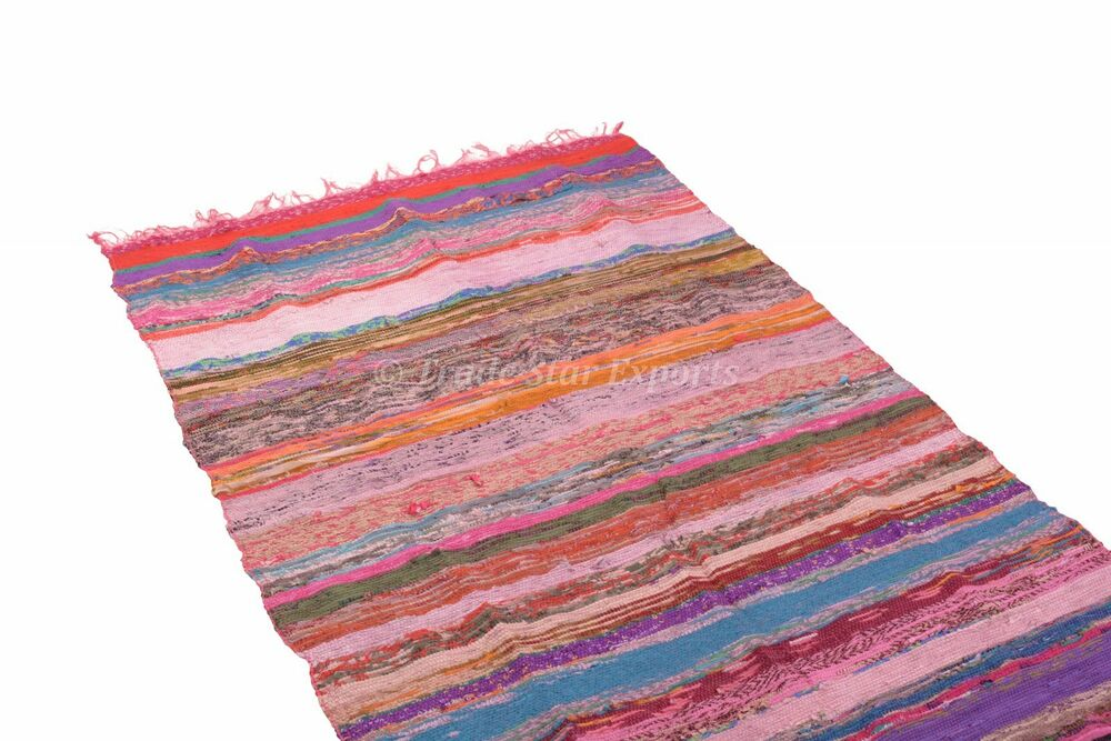 Hand loomed rag rug large area carpet throw 4x6 chindi for Throw rug on top of carpet