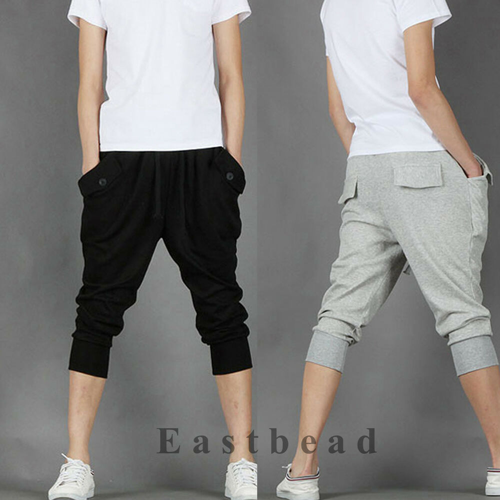 Korean Fashion Mens Sweat Shorts Sport Hip Hop Dance Harem Baggy Pants Trousers | EBay