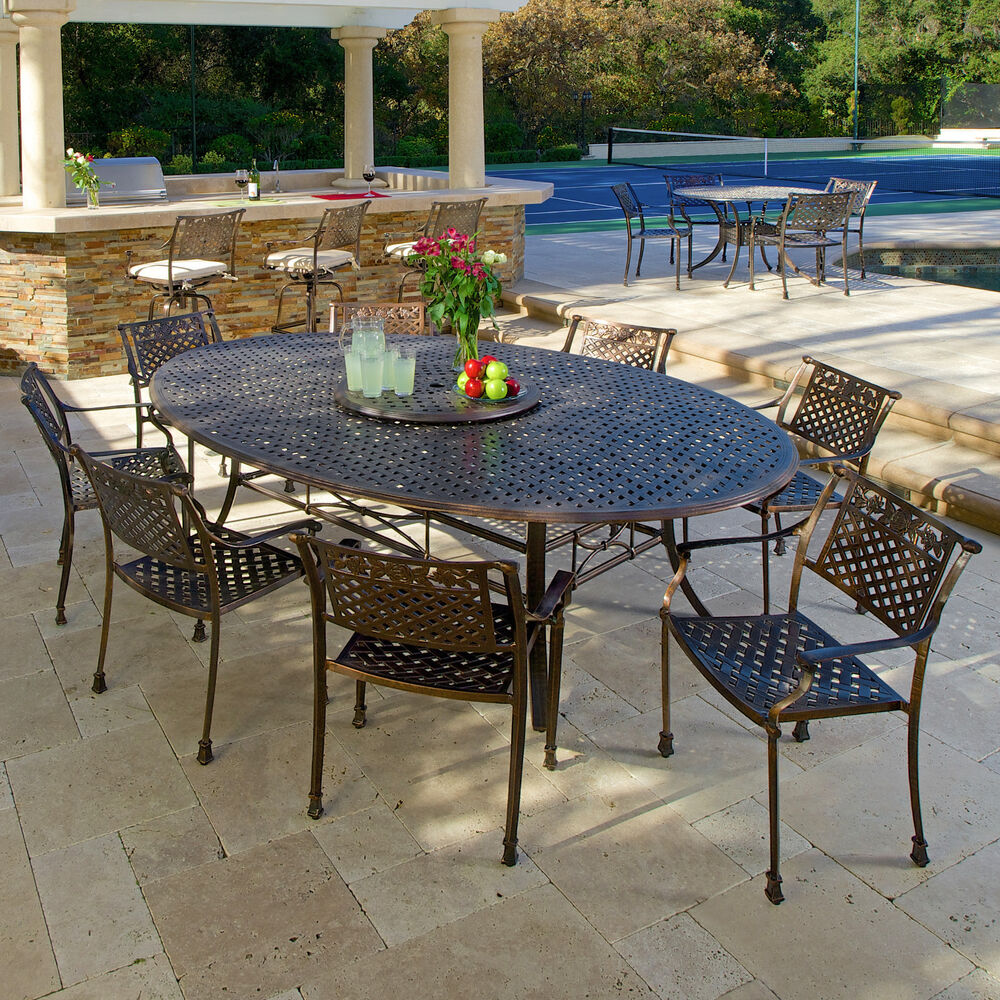 Outdoor Patio Furniture 10pc Copper Cast Aluminum Dining