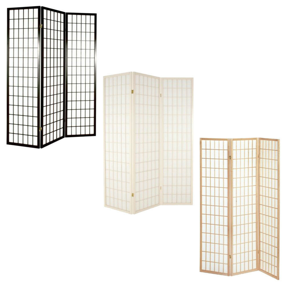 Http Www Ebay Co Uk Itm Shoji 3 Panel Hinged Room Divider Screens Natural Dark Brown White 331185753377