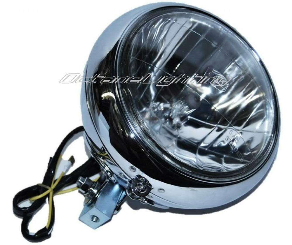 Motorcycle Headlight Assembly : Quot motorcycle crystal headlight light housing chrome