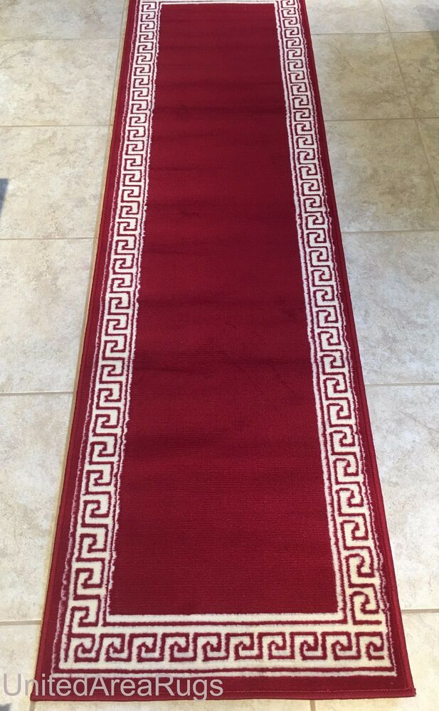 Red Foyer Rug : Runner rug modern greek key design hallway red carpet