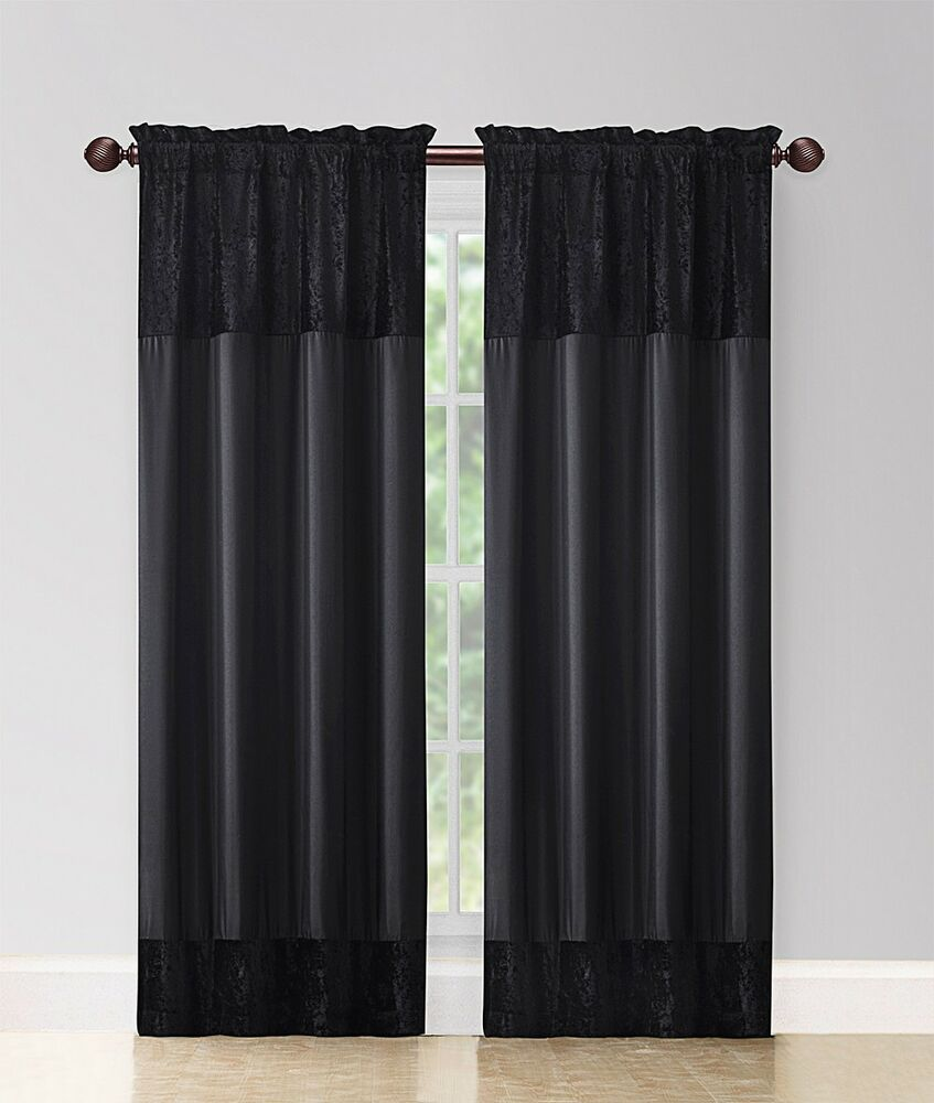 2 Panel Fabric Window Curtain Set 80 203cm Wide X 84 213cm Long Black Ebay